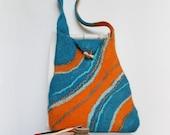 Turquoise orange statement bag  - Felted bag - Felt purse - Hippie bag - Student boho bag - Turquoise orange Bag / Handbag / messenger