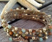 SALE 6x Wrap Bohemian wrap crochet jewelry Boho chic bracelet or long necklace earthy earth tone neutral color