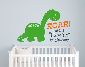 Dinosaur Wall Decal - Dinosaur Roar Childrens Wall Decal - Boys Bedroom Wall Art - Playroom Decor
