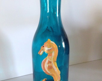 Handpainted Wine Carafe with Seahorse