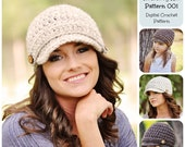 Crochet Pattern / Basic Newsboy Hat Pattern 001 / Crochet Hat Pattern / Brimmed Hat Pattern
