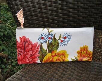 Zippered Oil Cloth Pouch-Retro Flower Bouquet Cosmetic Bag--Purse Organizer--Pencil pouch