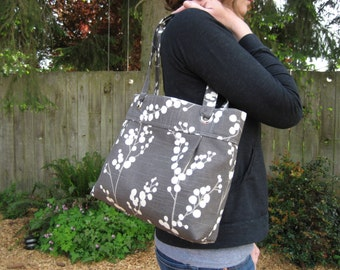Modern Grommet Pleated Small Tote Bag or Purse--Gray Branches with Berries fabric in gray and ivory