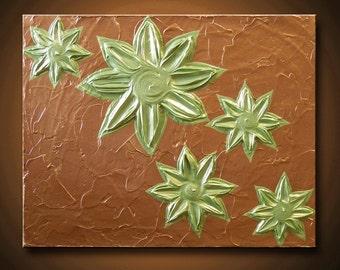 Painting Succulent Flower Bronze Peridot Green Chartruse metallic 11x14 High Quality Original Sculpture Modern Fine Art