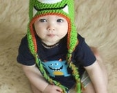 Green Monster Hat (All sizes available-Made to order) Ear flap monster hat