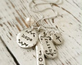 Faith Hope Joy Chunky Pewter Charm Necklace . Charm Necklace . Faith Necklace . Cross Necklace . Hope . Love . Religious Jewelry