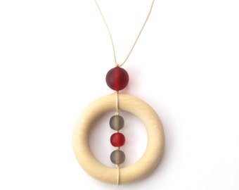 Wood Teething/ Nursing Necklace for Mom - Wooden Teether Burgundy Red and Gunmetal Grey Gray