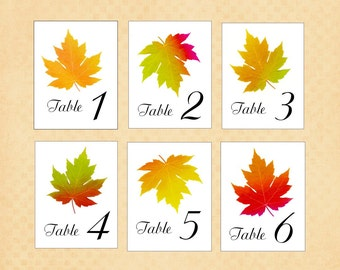 Autumn Leaf Table Numbers, Table Tent Cards, Single or Double Sided Table Cards,  Autumn Wedding, Botanical Illustrated Cards in Fall Colors