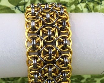 Gold and Gunmetal Wide Helm Chainmaille Bracelet - Ready to Ship