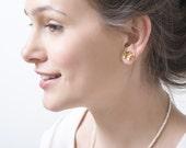 Lovely little flowers gold studs earrings, handmade (gold plated 24K), gold stud earrings