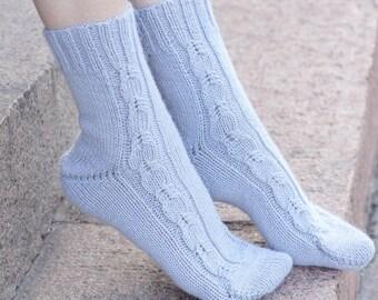 Hand knitted women Socks gray alpaca wool