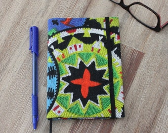 African print fabric small notebook cover. Notebook included