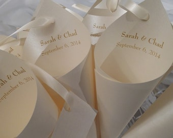 20  light Ivory shimmer wedding Petal Cones with ivory ribbon and hang tag