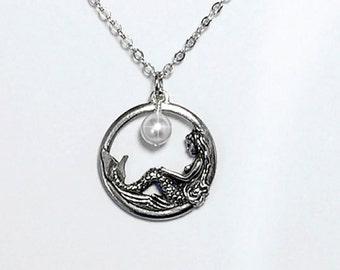 SALE...Mermaid Necklace Pearl Christmas Gift Black Friday Mom Girlfriend Friend Grandma Sister