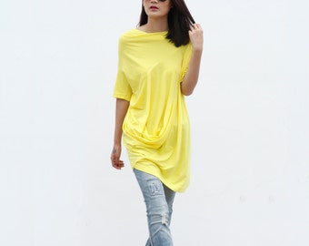 Casual Lagenlook And Relaxed Pullover Short Sleeve T-shirt Dress Top For Women in Yellow - NC380