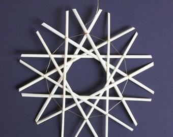 Straw Snowflake Ornament, Straw Christmas Ornament - Large