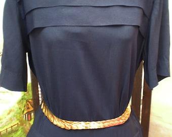 SALE Vintage 1940's Navy Pleated Dress Bolero WWII Era
