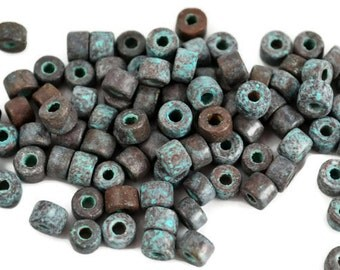 20 Mykonos Mini Tube - 6x4mm Green Patina - Greek Ceramic Beads