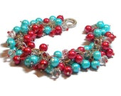 SET of 4 Bracelets Red and Turquoise Cluster Bracelets, Bridesmaid Jewelry. Party Jewelry, Wedding Jewelry  Holiday Jewelry