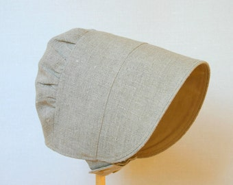Girls Linen sun hat bonnet Grey