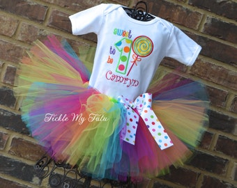 Polka Dot Candy Shop Birthday Tutu Outfit-Sweet Shoppe Birthday Tutu Outfit-Candy Themed Birthday Outfit