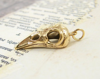Bird Skull Pendant, Gold Bird Skull Charm, Raven Skull Pendant, Cast Bronze Jewelry Charm  NG1-10