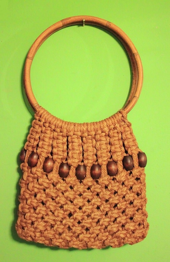 Crochet Hippie Bag : Vintage 70s Crochet Tote Purse Boho Hippie Accessories Women Bamboo ...