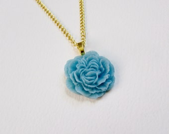 Baby Blue Peony Flower Necklace