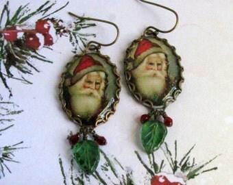 Santa Earrings, Vintage Santa Image, Santa Claus Earrings, Christmas Earrings, Holiday Earrings, Santa Jewelry, Christmas Jewelry, Swarovski