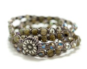 Labradorite and crystal five wrap Macrame Bracelet or Necklace