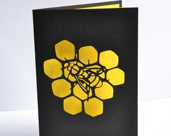 Honey Bee - Paper Cut Card - Original Design - Handmade - Novelty Card - A6 size with envelope