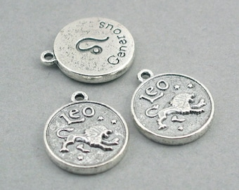 Horoscope Zodiac Leo Charms July August Birthday Generous Antique Silver disc charms 4pcs base metal beads 17mm CM0641S