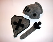 SALE Knight Set Sword Shield Helmet Hat Crochet Costume Newborn Photography Prop Ships 1-3 days