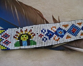 Native American Headband Seed Beads Chief Figural Headdress Tribal Designs Vintage 30s Shabby Chic Needs Repair Repurpose Collectible
