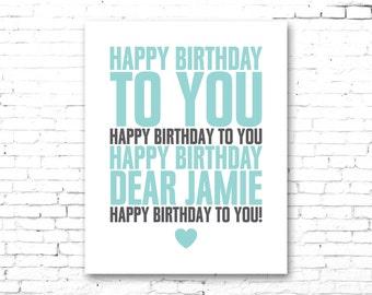 CUSTOM NAME Happy Birthday Artwork - PRINTABLE Digital Download File - Light Teal Color - Heart