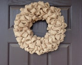 "18"" Bubble Burlap Wreath. Burlap Wreath. Fall Wreath.  Multi-season wreath."