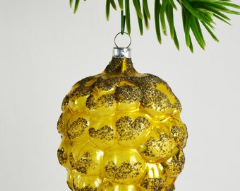West Germany Gold Pine Cone Ornament / Blown Glass