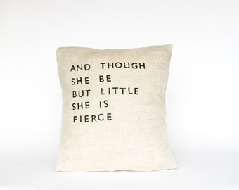 LITTLE & FIERCE // Linen Quote Pillow // Handmade Modern