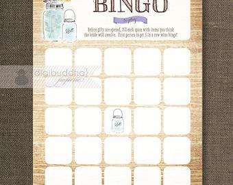 Mason Jar Bridal Shower Bingo INSTANT DOWNLOAD 5x7 Wildflowers Shabby Chic Bridal Shower Game Card DIY Printable or Printed- Piper Style