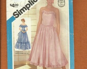 Vintage 1984 Simplicity 6386 Gunne Sax Bridesmaid Dresses Strapless Off Shoulder Ruffle Chevron Drop Waist Size 12