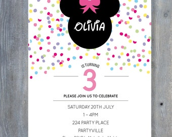 MINNIE Mouse Invitation for Birthday Party - Rainbow Confetti Style - Printable file 7x5 - Print Your Own