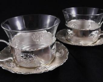 Vintage Teacups Silverplate Teacups and Saucers W. Germany