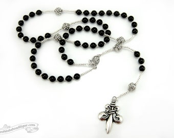 Fleur De Lis rosary necklace, black rosary, mens rosary, confirmation rosary, rosaries for men, boys rosary, onyx rosary, french catholic
