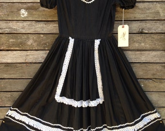 1950's Black with White Crochet Fringe Apron Western Dress