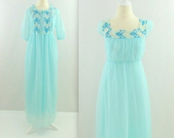 Something Blue Lingerie Set - Vintage 1960s Chiffon Nightgown Robe Set in Robins Egg - Medium by La Loire