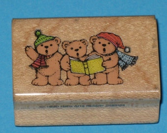 Rubber Stamps BEARS Three Carolers Wood Mount Hero Arts Rubber Stamp