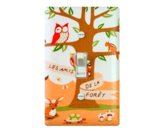 Les Amis Woodland Animals Light Switch Plate Cover / Peach Coral Baby Girl Nursery / Tree Owl Deer Turtle / Girls Boys Room Michael Miller