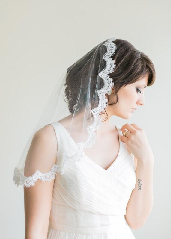 Silk Mantilla Veil with French Alencon Lace, Elbow Length, Shoulder Length, Silk Veil, Bridal Veil- Monique MADE TO ORDER- Style 9013