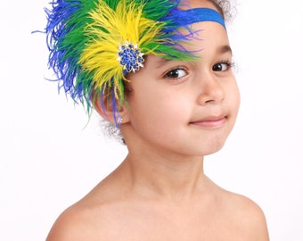 READY TO SHIP: Stretchy Feather Headband - Blue and Yellow Majestic Macaw Bird Costume Accessory - Fits toddler to adult - CPDz