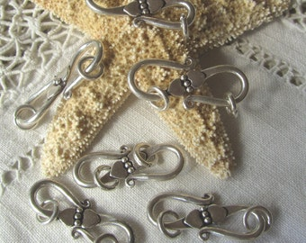 S-29 Two Large Bali Silver S-Clasps with 2 Hearts Design, Includes 6mm Jump Rings, Heavy, Substantial S-Clasps - Craft Supplies Bracelets